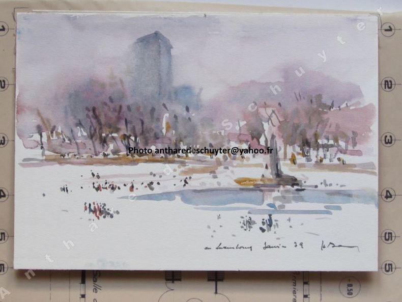 AU LUXEMBOURG, JANVIER 79 (Jardin public à Paris sous la neige). Henri DAVY (1913-1988)