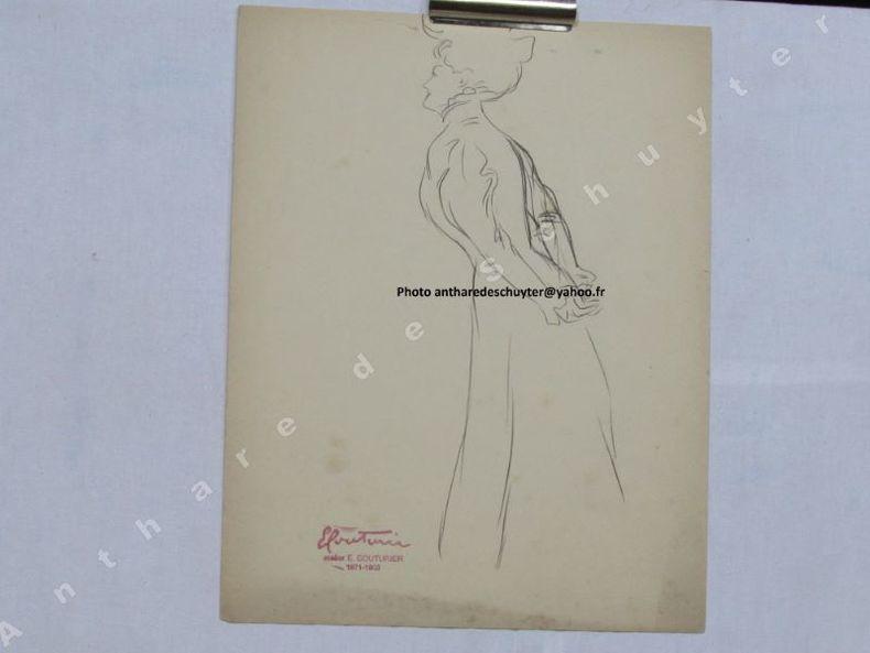 FEMME BELLE ÉPOQUE vue  3/4 DOS, dessin original. Édouard COUTURIER (1871 - 1903) 1)