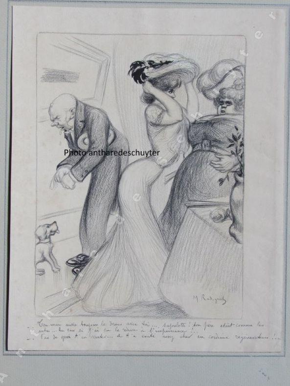 """""""TON MARI AURA TOUJOURS LE DESSUS AVEC TOI ..."""" dessin original. Maurice RADIGUET (1866-1941)"""