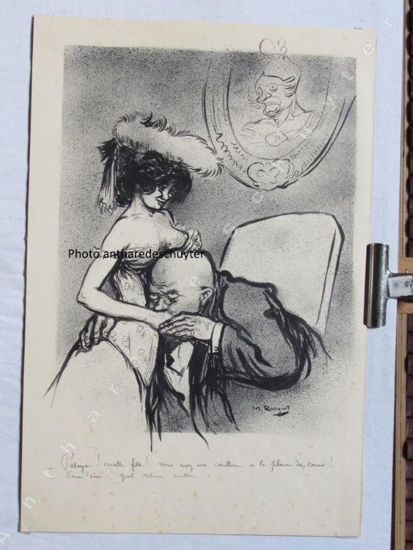 PALMYRE ! CRUELLE FILLE ! - Vous avez un caillou à la place du coeur !- Pour sûr... Quel vilain caillou !. Maurice RADIGUET (1866-1941), dessin ...