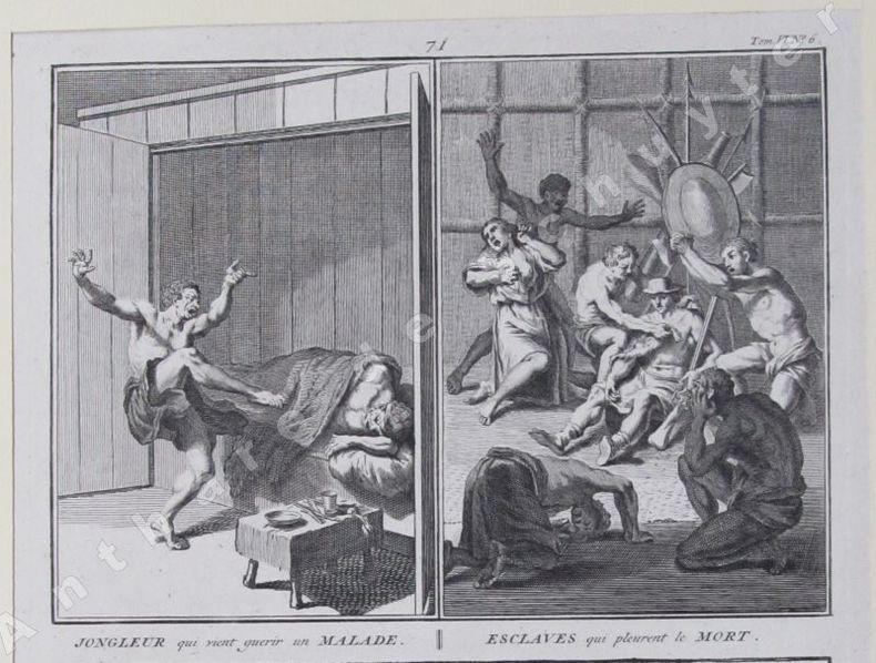 JONGLEUR QUI VIENT GUÉRIR UN MALADE, ESCLAVES QUI PLEURENT LE MORT, LES PARENTS DEMANDENT AU DEFUNT LES CAUSES DE SA MORT. Bernard PICART (1673-1733)