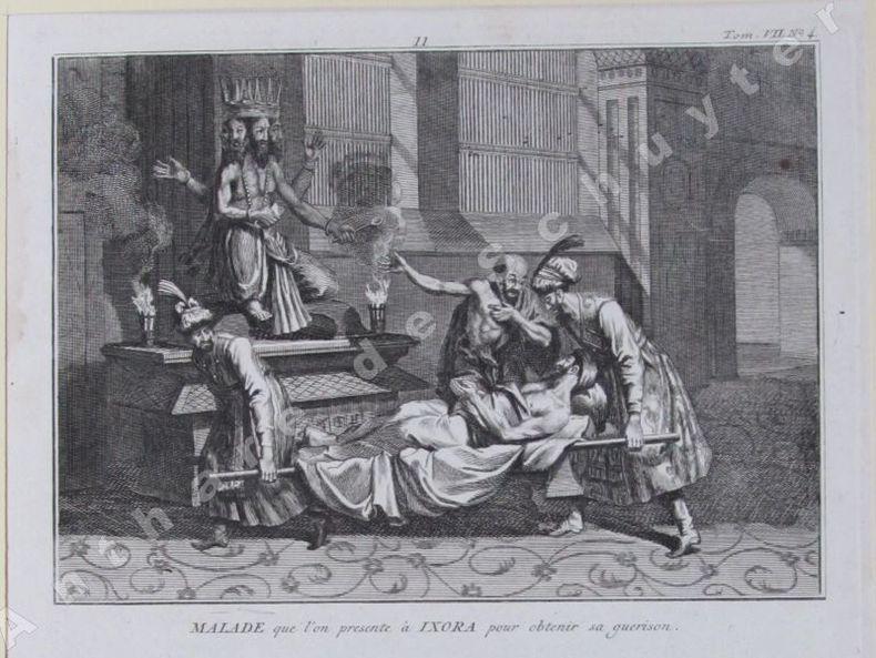 MALADE QUE L'ON PRÉSENTE A IXORA POUR OBTENIR SA GUÉRISON MALADE AGONISANT QUI REÇOIT SUR SON VISAGE L'URINE D'UNE VACHE. Bernard PICART (1673-1733)
