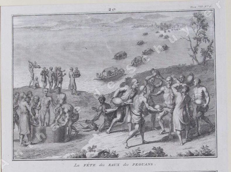 LA FÊTE DES EAUX CHEZ LES PEGUANS & CÉRÉMONIES FUNÈBRES QUE LES PÉGUANS PRATIQUENT POUR LEUR ROI DÉFUNT. Bernard PICART (1673-1733)