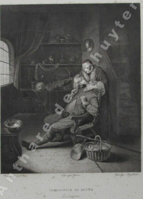 L'ARRACHEUR DE DENTS École hollandaise . Aloys KESLER, graveur, dessin de GIANNI, d'après un tableau de Gérard DOU