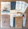 """Fêtes du Rouergue et de l'amitié rouergate; 24 menus divers; un menu très défraîchi de la Compagnie Générale transatlantique; """"Paquebot Commandant ..."""