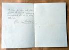 """Une lettre autographe signée de 4 pp.; dimensions 11 x 15,5 cm au créateur de l'oeuvre de charité """"Trente ans de Théâtre"""" censée soutenir les acteurs ..."""