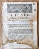 (Calon, Saint-Estèphe, Guyenne). A Juger, à l'Audience de la Grande Chambre; pour Messire Jean-Elie de Cazaux, Chevalier; Brigadier des Armées du Roi; ...