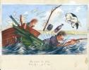"""Gouache originale, signée et légendée, réalisée par Maurice Raffray pour la Carte postale """" Les Vrais de de vrais..."""" . ( Pêche - Humour ) -  Maurice ..."""