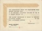 Certificat d'authenticité, en anglais, pour la vente de sculptures de Salvador Dali.. ( Beaux-Arts ) - Salvador Dali.
