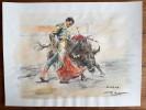 "Magnifique dessin Taurin original aquarellé et signé de Juan Reus, intitulé "" Muleta "".. ( Tauromachie - Dessins Originaux ) - Juan Reus."