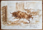 Magnifique dessin Taurin original, aquarelle + gouache, dédicacé par Juan Reus.. ( Tauromachie - Dessins Originaux ) - Juan Reus.