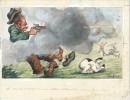 Gouache originale, signée et légendée, réalisée par Maurice Raffray pour une Carte postale.. ( Chasse - Humour ) -  Maurice Raffray.