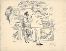 """Magnifique dessin original de Robert Miquel dit """" Romi """" sur le thème de la fête foraine.. ( Dessin ) - Robert Miquel dit """" Romi """"."""