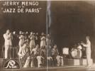 """Carte dédicacée de Joseph Gaetan Mengozzi dit Jerry Mengo et de 2 musiciens non identifiés du groupe """" Jazz de Paris """". ( Musique - Jazz ) -  Joseph ..."""
