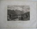 Trois gravures sur acier : 1. C. Reiss. Der Montblanc von Sallenche aus gesehen. Hildbh., Kunstanst. d. Bibl. Inst., s. d., feuille : 18,5 x 25 cm, ...