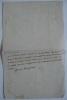 Billet manuscrit de 5 lignes, signé et daté le 24 (et 25) mars 1786. D'Argental fait don de son théâtre complet, décorations, dépendances et ...