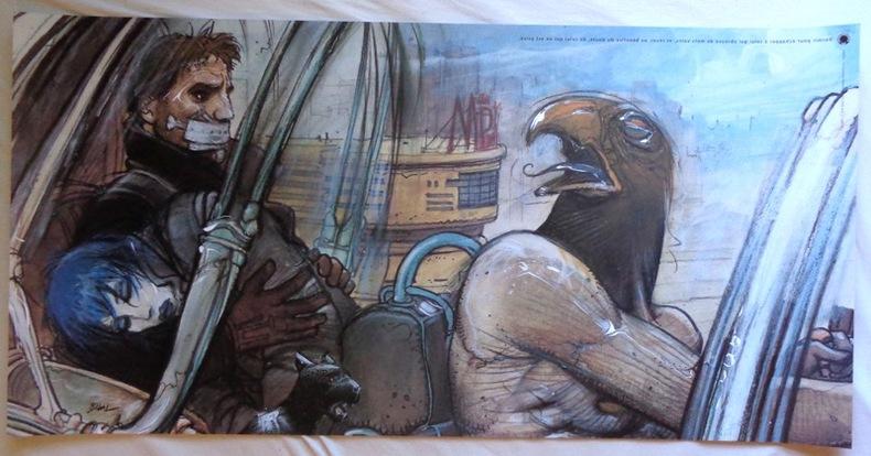 Jill, Horus, Nikopol et Gogol - dormir pour échapper (50 x 100). . Bilal Enki: