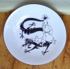 Tintin, grande assiette / plat à tarte, Le Lotus bleu.. Hergé: