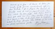 3 cartes autographes signées. . Chessex Jacques: