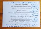 Carte autographe signée. . Chessex Jacques: