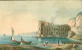 [Pécheurs dans une baie devant une ruine antique]..