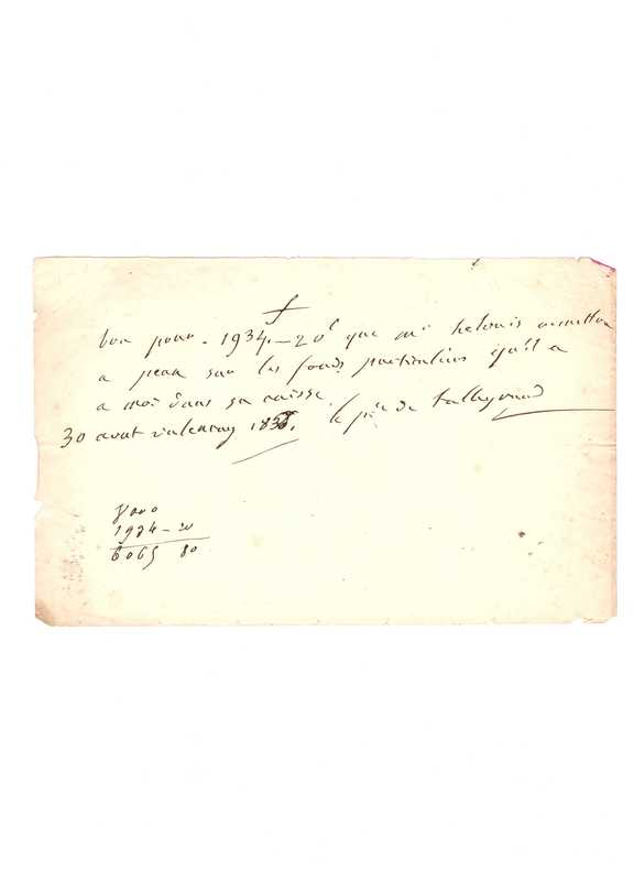 . TALLEYRAND (Charles, Maurice de Talleyrand-Périgord) (1754-1838)