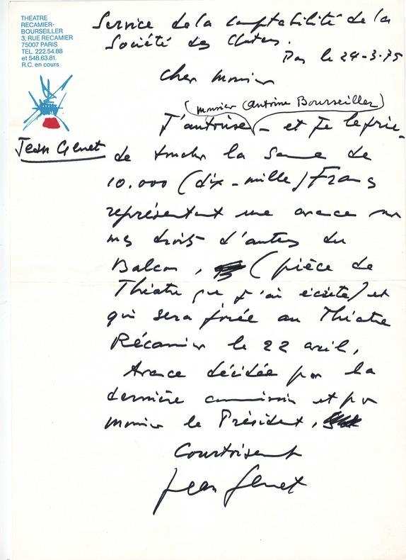 LE BALCON. GENET (Jean) (1910-1986)