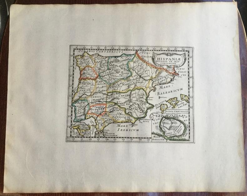 HISPANIAE DIVISIO IN XIV CONVENTUS. Theatrum geographique Europae veteris. Carte de l'Espagne ancienne. . Briet (Philippe)