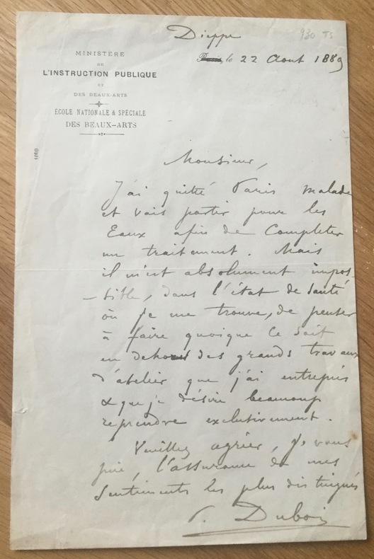 Lettre autographe signée. Dubois (Paul)