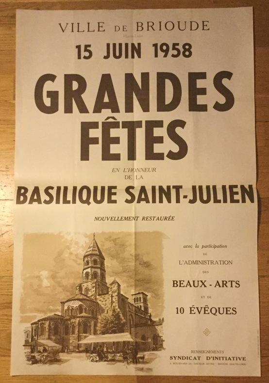 Affiche pour les Grandes Fêtes de Brioude, restauration de la Basilique Saint-Julien.. Collectif / Ville de Brioude
