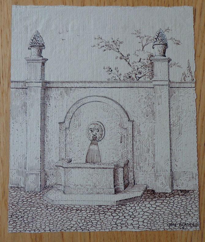 Dessin original signé d'une fontaine. . Berthold (Max)