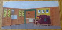 Gouache. Architecture d'intérieur, canapé, table, fenêtres.. Berthold (Max)