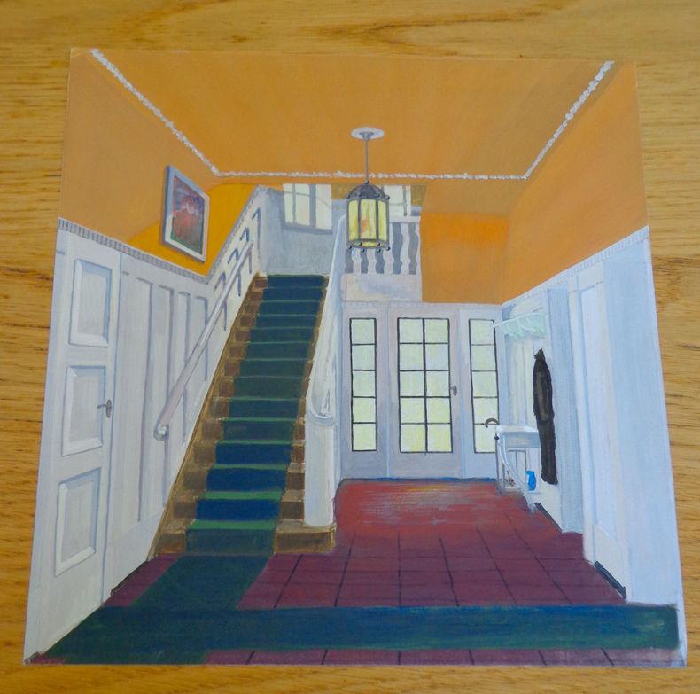 Dessin d'architecture d'intérieur. Escalier et lustre. . Berthold (Max)