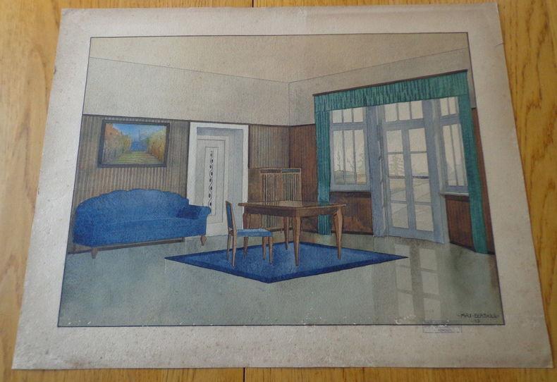 Gouache originale signée. Intérieur avec table, rideaux. . Berthold (Max)