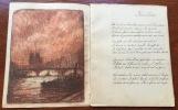 Mon village. Manuscrit. Cahier de poésies, fin XIXe, avec trois dessins.. Anonyme