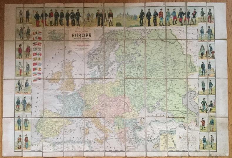 Nueva mapa de Europa politico y commercial, illustrado con los typos y uniformes militares de los estados de Europa. Indicando las ultimas ...