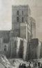 Gravure de la cathédrale et du calvaire, Avignon, Provence, XIXe. Chapuy et Bicheboy