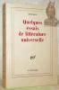 Quelques essais de littérature universelle. Collection Blanche.. ETIEMBLE.