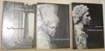 Civilisation grecque. Trois tomes. Tome 1: De l'Iliade au Parthénon. Tome 2: D'Antigone à Socrate. Tome 3: D'Euripide à Alexandrie.. BONNARD, André.