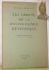 Les débuts de la bibliographie méthodique. Troisième édition revue. Traduit de l'anglais.. BESTERMAN, Theodore.