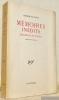 Mémoires inédits. Fragments et projets. Edités par Jean Sangnier.. VIGNY, Alfred de.