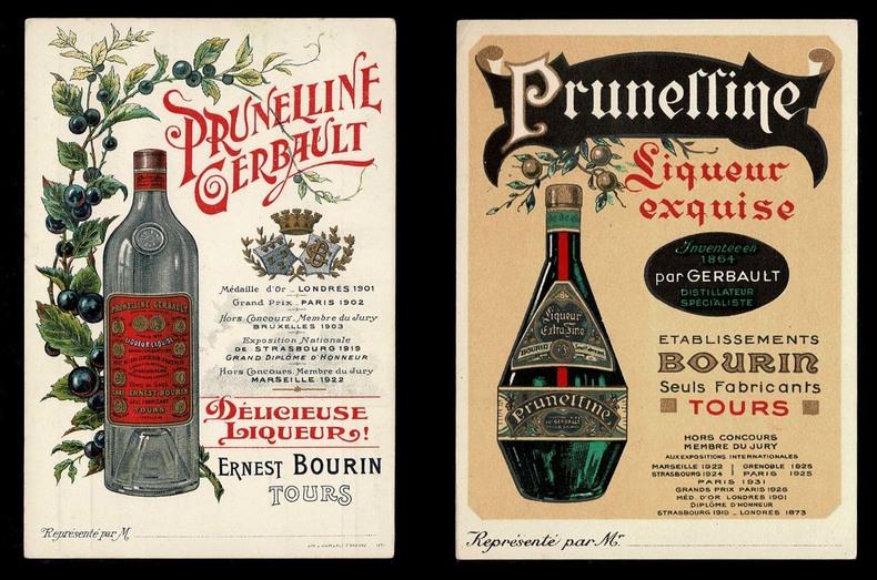PRUNELLINE GERBAULT, Délicieuse liqueur ! et PRUNELLINE, Liqueur exquise.. BOURIN Ernest, Tours et Établissements BOURIN, Tours.