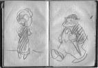Moscou 1935. Carnet autographe in-18 de moleskine noire souple, tranches rouges, 44 feuillets presque intégralement remplis d'adresses, de notes et de ...