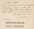Memorandum d'un éditeur. Préface de Jean Ajalbert.. STOCK (P.-V.).