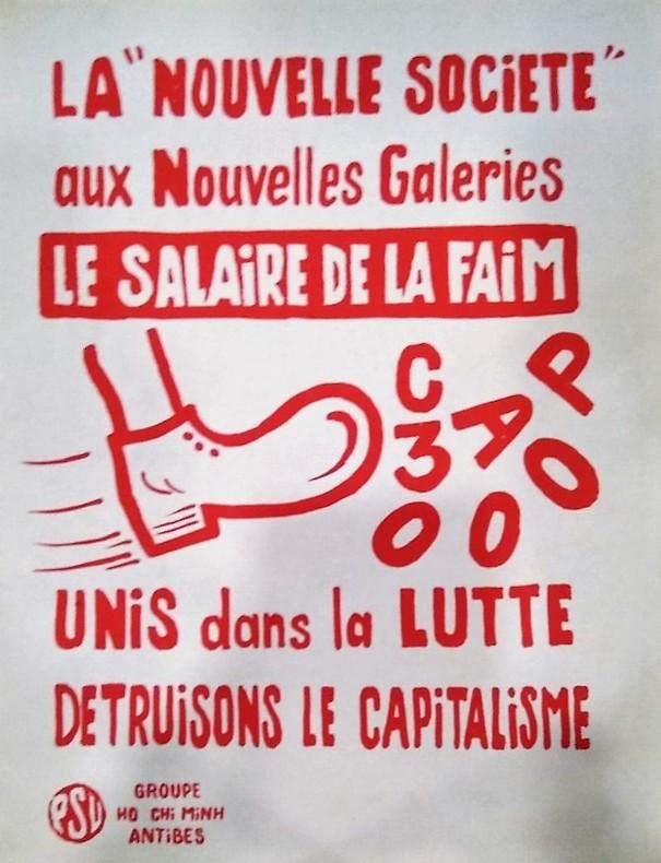 La Nouvelle Société aux Nouvelles Galeries Le Salaire de la Faim. Affiche Politique