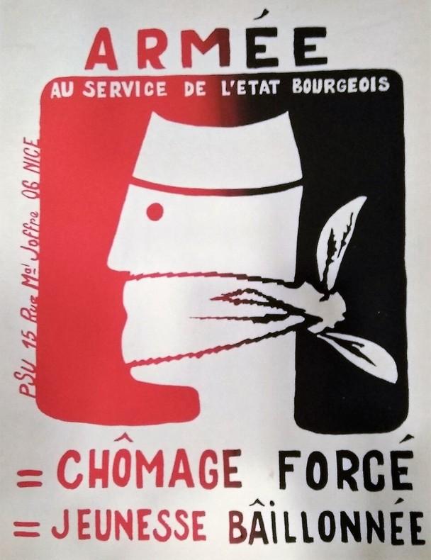 Armée  Au Service de L'État Bourgeois =Chômage forcé =Jeunesse Bâillonnée. Affiche Politique