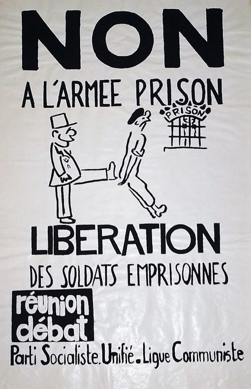 Non à L'Armée Prison Libération des soldats emprisonnés. Affiche Politique