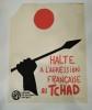 Halte à l'Agression française au Tchad. Affiche Politique P.S.U.