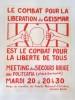 Le Combat pour La libération de Geismar Est le combat de la Liberté pour Tous. Affiche politique