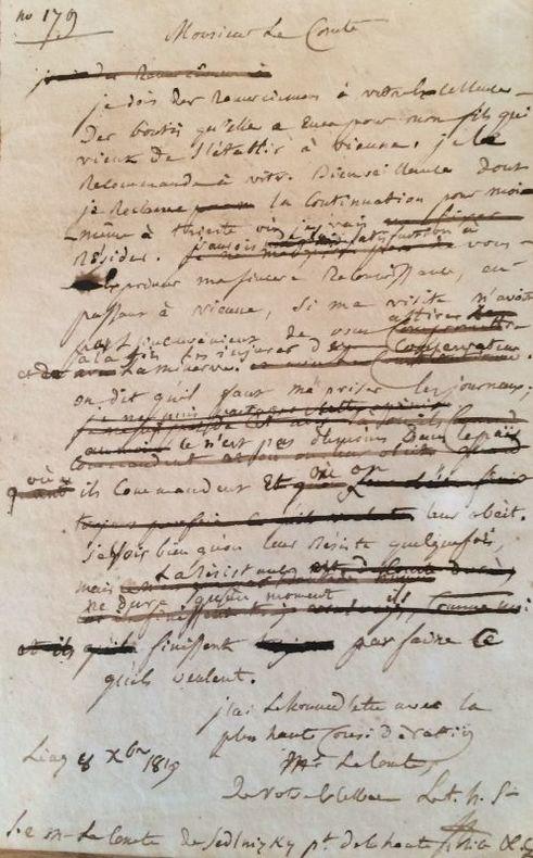 Minute autographe signée « JF » d'une lettre adressée au [comte Sedlnizky]. Linz, 8 décembre 1819. 1 page in-12. . FOUCHÉ Joseph